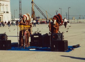 Peruvian musicians dressed as North American Plains Indians in Lisbon