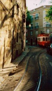 Winding through old city Lisbon