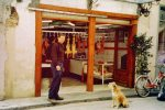Nafplio - Dog, butcher shop, guy with opposable thumbs--perfect